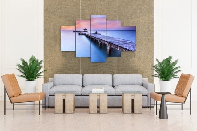 Jetty Sunrise Bridge Over Sea With Pavilion Canvas Prints 5 Pieces Throughout Jetty Canvas Wall Art (Image 12 of 15)