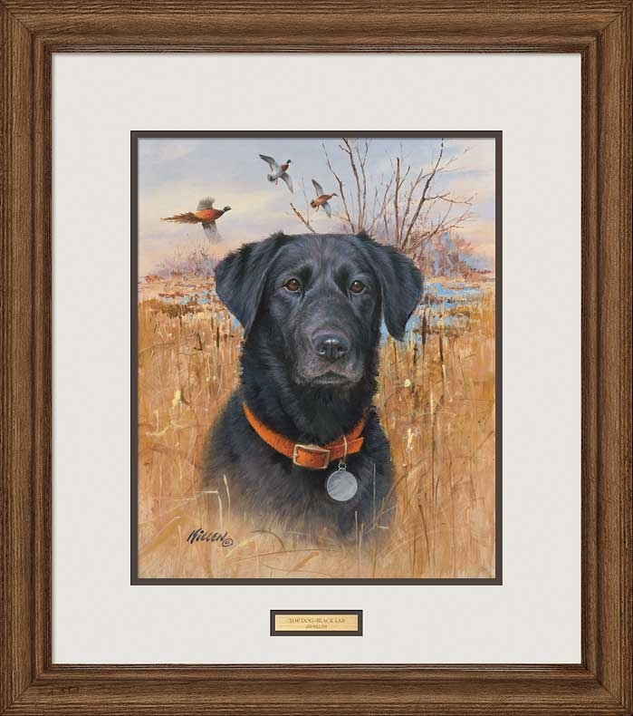 "Jim Killen Artist Hand Signed Framed Print:""top Dog – Black Lab Inside Dog Art Framed Prints (Image 10 of 15)"