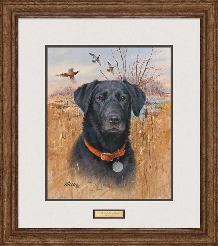 """Jim Killen Artist Hand Signed Framed Print:""""top Dog – Black Lab Inside Dog Art Framed Prints (Image 10 of 15)"""