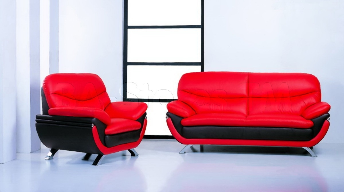 Jonus 3 Pc Sofa Set | Black/red Leather – $2, (View 9 of 10)