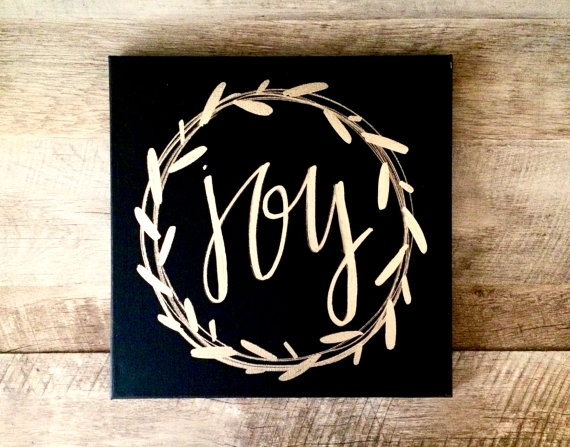 Joy Wreath Canvas Sign 12X12 Home Decor Christmas Sign Inside Joy Canvas Wall Art (Image 9 of 15)