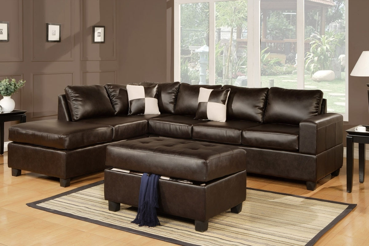 Julius Espresso Bonded Leather Sectional Sofa With Ottoman Inside Leather Sectional Sofas With Ottoman (Image 8 of 10)