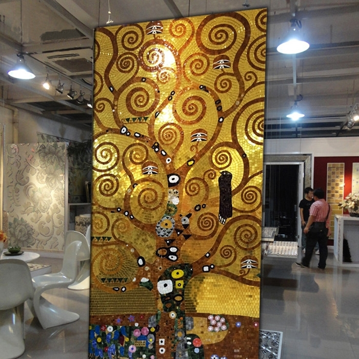 Jy Gmw02 Gold Glass Pattern Mural Abstract Glass Mosaic Luxury Within Abstract Mosaic Art On Wall (Image 7 of 15)