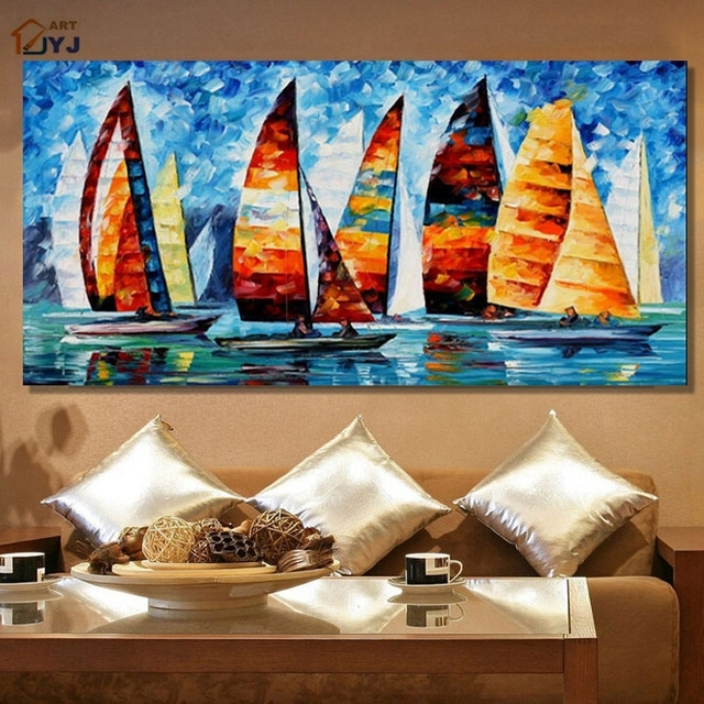 Jyj Art Thick Texture Yacht Race 100% Hand Painted Modern Abstract Throughout Modern Abstract Oil Painting Wall Art (Image 12 of 15)