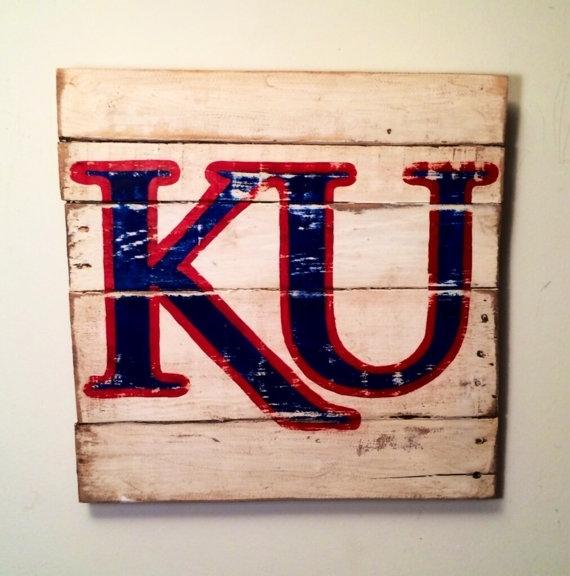 Kansas Jayhawks Sign / University Of Kansaspalletsandpaint Within Ku Canvas Wall Art (View 8 of 15)