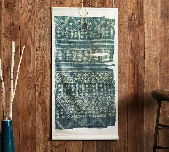 Kantha Textile Canvas Wall Art | Pottery Barn With Regard To Textile Wall Art (Image 10 of 15)