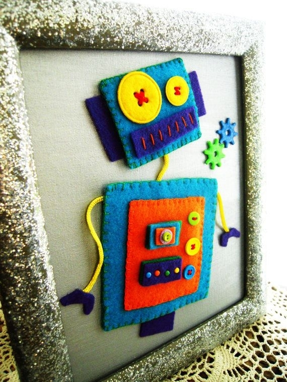 Kids Canvas Wall Art Boys Room Decor Childrens / Nursery 3D Felt Regarding Robot Canvas Wall Art (View 14 of 15)