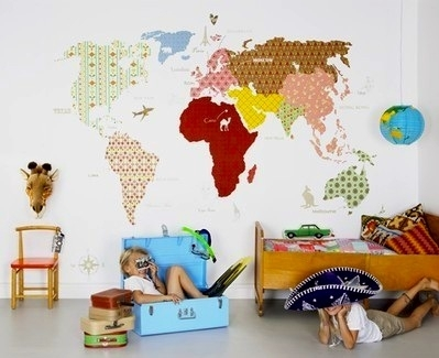 Kids Playroom Wall Idea With Fabric Map Wall Covering | Wall Decor With Childrens Fabric Wall Art (View 7 of 15)