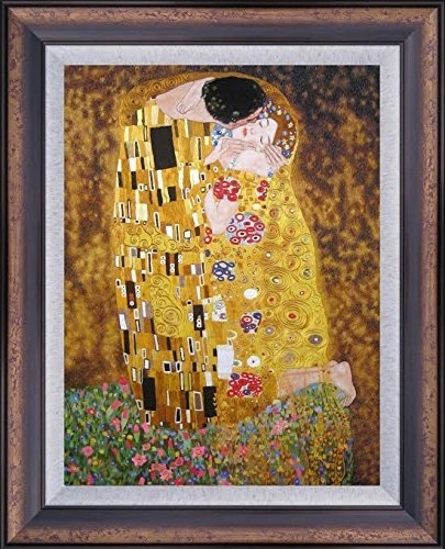 King Silk Art 100% Handmade Embroidery Large Framed The Kiss-Klimt intended for Framed Asian Art Prints