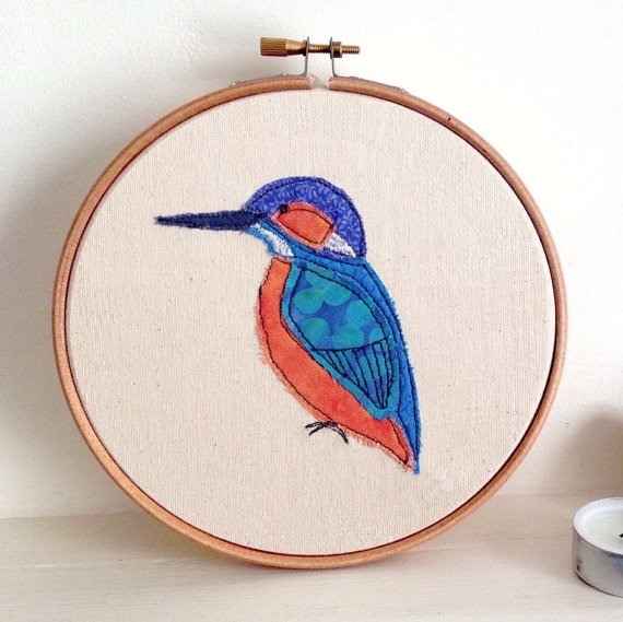 Kingfisher Embroidery Hoop Framed Wall Art Picture Gift In Fabric Applique Wall Art (Image 9 of 15)