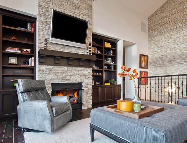 Kirkland Custom Living Room With Fireplace & Stone Accent Wall Within Wall Accents For Fireplace (Image 12 of 15)