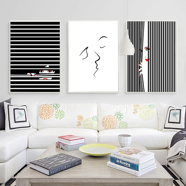 Kiss Abstract Canvas Art Posters And Prints Minimalist Black White Throughout Abstract Wall Art Posters (View 9 of 15)