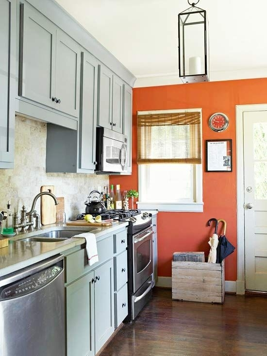 Kitchen : Burnt Orange Kitchen Decor Walls Wood Cabinets Throughout Wall Accents Cabinets (Image 7 of 15)
