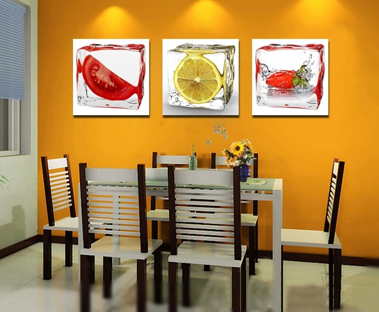 Kitchen Dinning Room Decoration 3Pcs Modern Wall Canvas Painting For Abstract Kitchen Wall Art (Image 10 of 15)