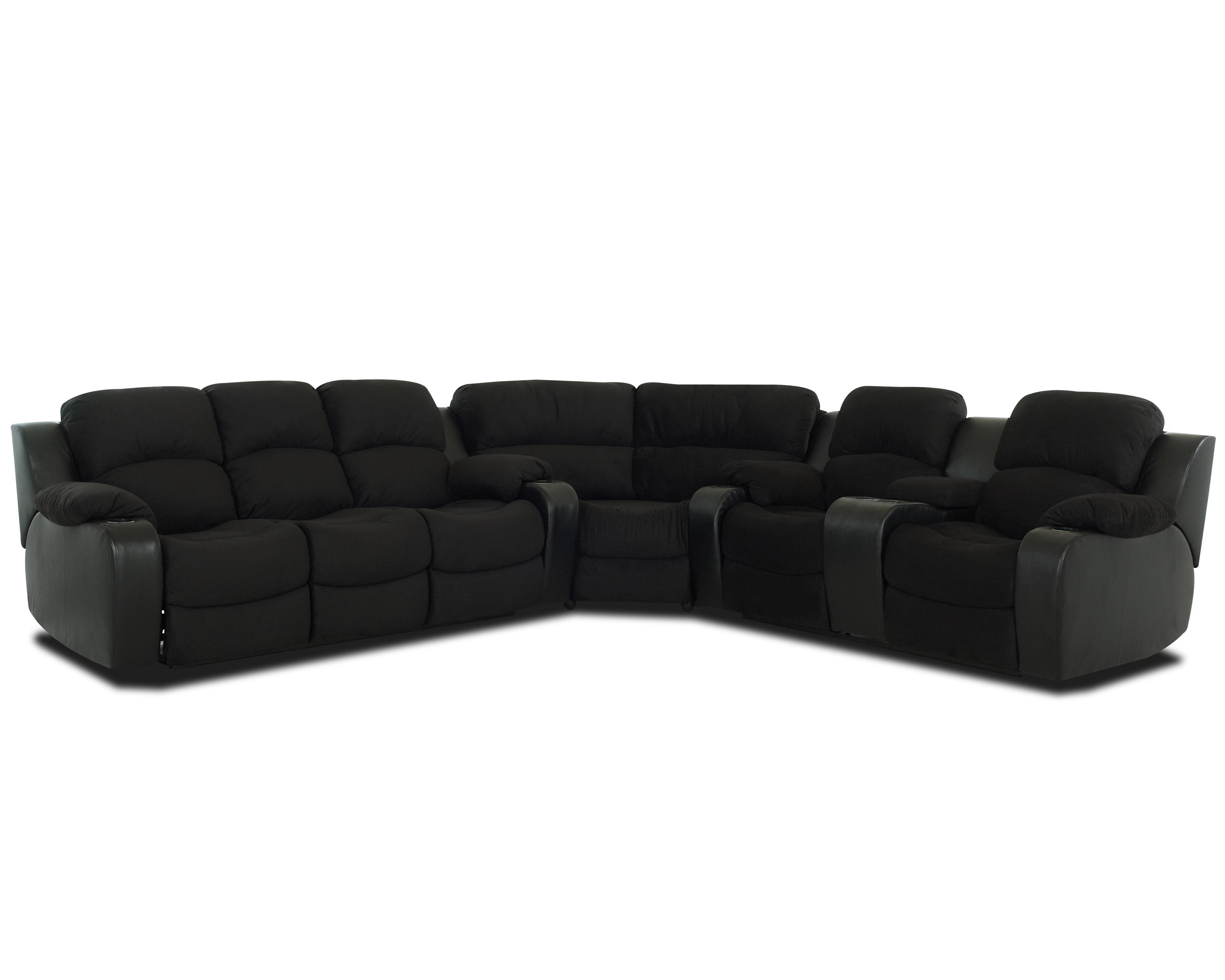 Klaussner Grand Reclining Sectional Sofa With Console – Ahfa Intended For Jedd Fabric Reclining Sectional Sofas (Image 5 of 10)