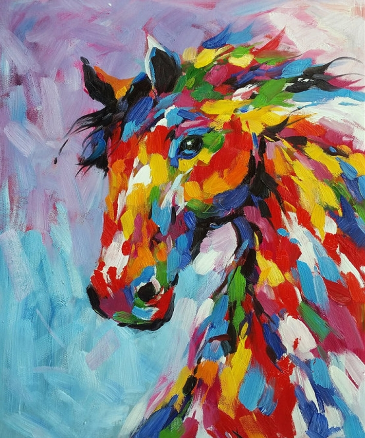 Knife Oil Painting Horse On Canvas Abstract Living Room Wall Art Inside Abstract Horse Wall Art (View 2 of 15)