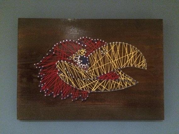 Ku Jayhawk Nail String Art | Men Cave, Kids Rooms And Cave Within Ku Canvas Wall Art (Image 12 of 15)