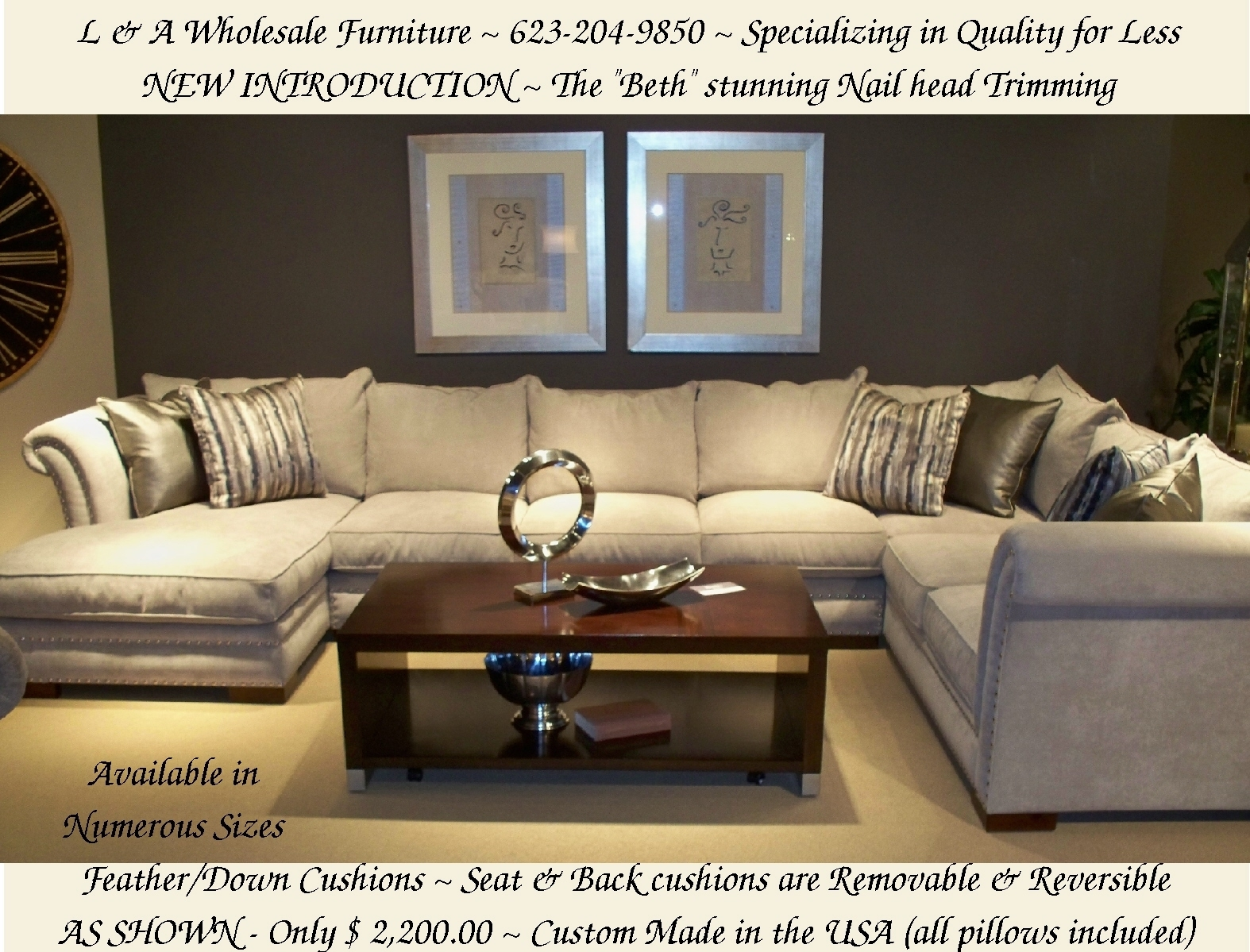 L & A Wholesale Furniture Glendale Arizona Direct Web Link Http Pertaining To Down Filled Sectional Sofas (View 9 of 10)