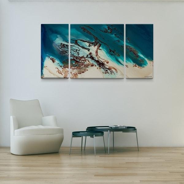 L Dawning Scott 'coastal Beauty' 30X60 Triptych Canvas Wall Art In Joval Canvas Wall Art (Image 11 of 15)
