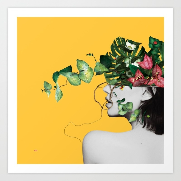 Lady Flowers Art Printlinco7N | Society6 For Flowers Framed Art Prints (View 12 of 15)