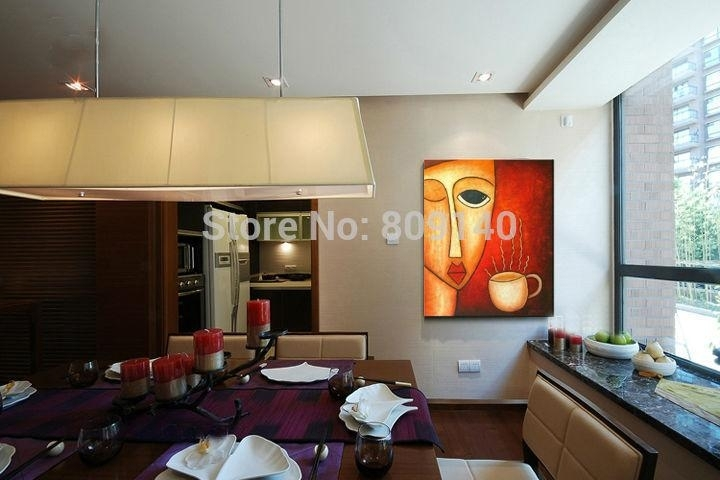 Lady With Coffee Abstract Oil Painting Canvas Quality Handmade Within Abstract Kitchen Wall Art (Image 11 of 15)