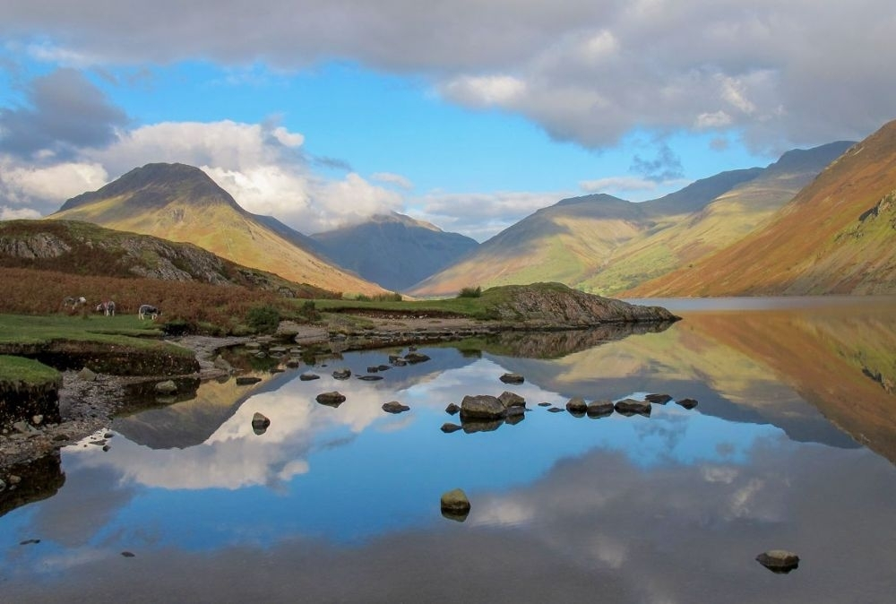 Landscape Framed Canvas Wall Art – Reflections Of The Lake District In Lake District Canvas Wall Art (Image 6 of 15)