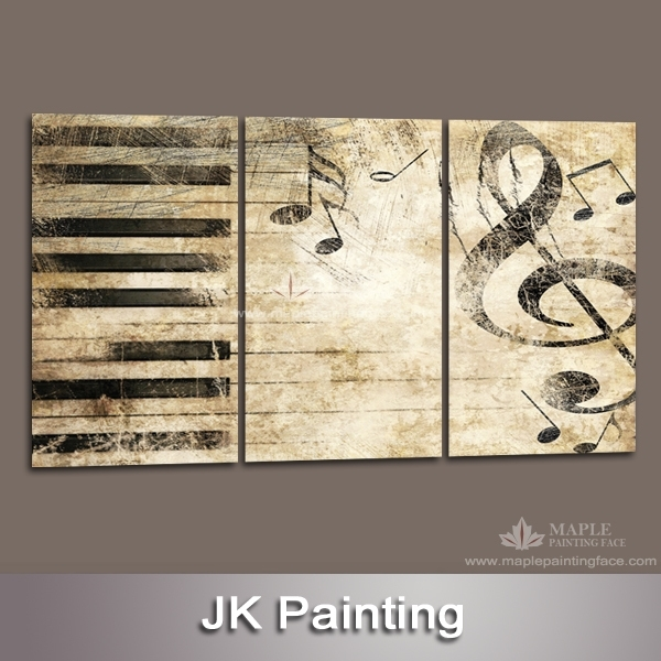 Large 3 Piece Canvas Art Decor Painting Of Music Melody Wall Within Music Canvas Wall Art (Image 6 of 15)
