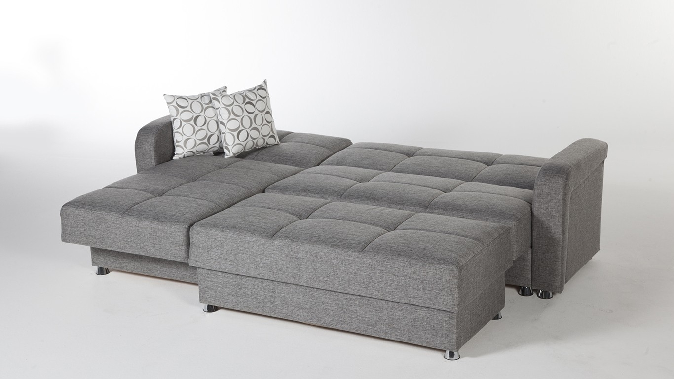 Large 3 Piece Microfiber Tufted Sectional Sleeper Sofa With Storage For Sectional Sleeper Sofas With Ottoman (View 3 of 10)