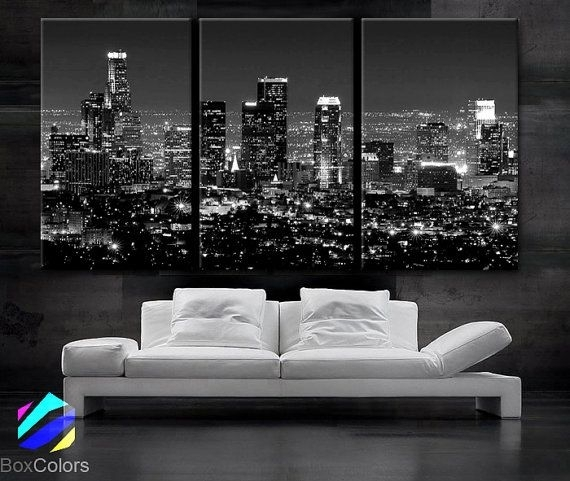 "Large 30""x 60"" 3 Panels Art Canvas Print Beautiful Los Angeles Ca For Los Angeles Framed Art Prints (Image 7 of 15)"