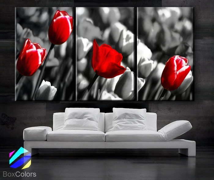 """Large 30""""x 60"""" 3 Panels Art Canvas Print Red Rose Background Black Inside Black And White Photography Canvas Wall Art (Image 8 of 15)"""