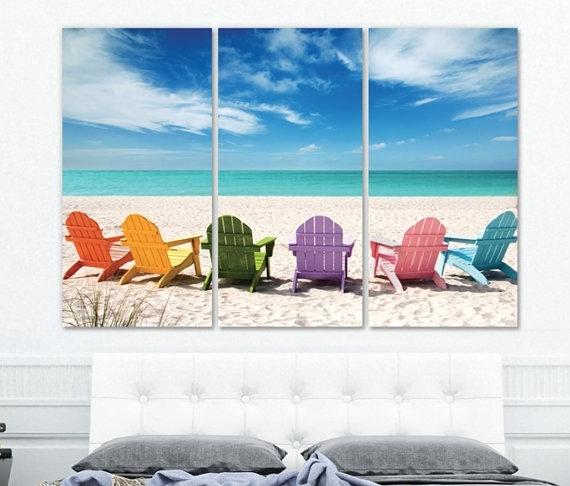 Large Beach Wall Art On Canvas Beach Mural Ocean Beach For Ocean Canvas Wall Art (Image 11 of 15)