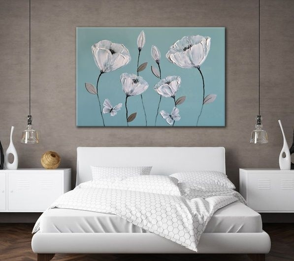 Large Beautiful Canvas Art Blue Grey White Flowers Zen Picture In Duck Egg Blue Canvas Wall Art (Image 9 of 15)