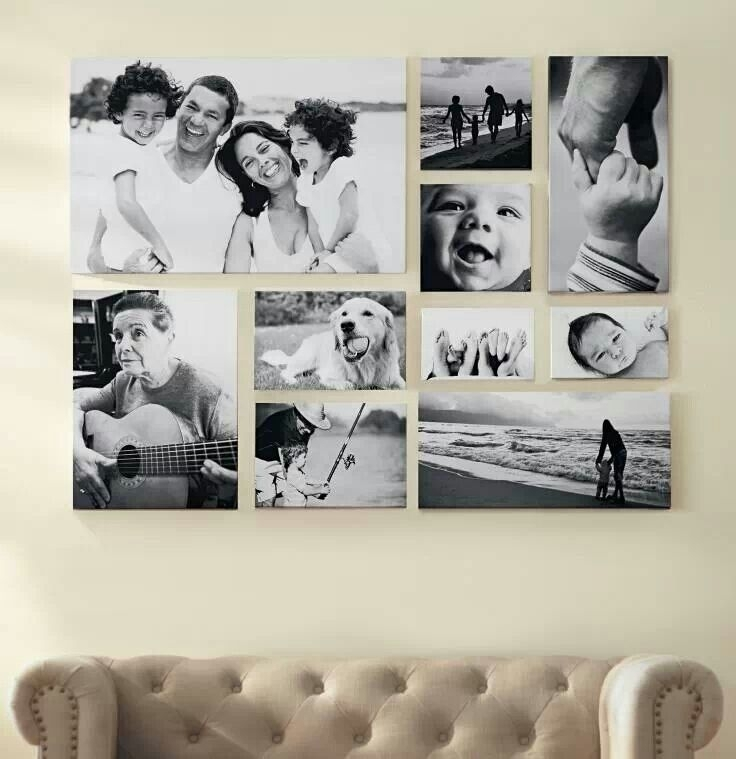 Large Black And White Layout With Family Portraits | On A Canvas Regarding Portrait Canvas Wall Art (Image 7 of 15)
