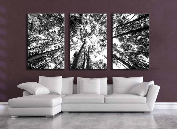 Large Black And White Three Canvas Wall Grouping 80 Inch Aspen For Black And White Photography Canvas Wall Art (Image 9 of 15)
