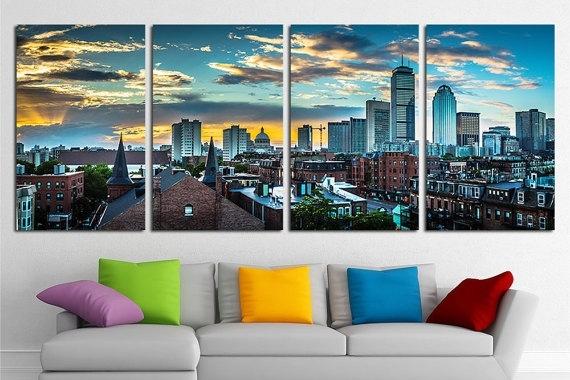 Large Boston City Canvas Wall Art Set Boston Canvas Art Boston Pertaining To Nature Canvas Wall Art (Image 6 of 15)