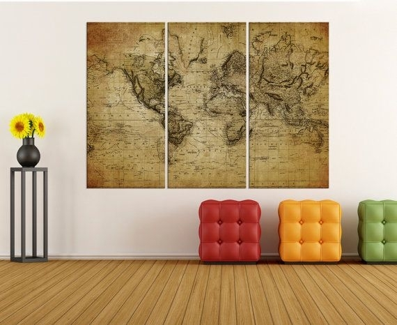 Large Canvas Art Rustic World Map Wall Print, World Map Wall Art With Rustic Canvas Wall Art (View 3 of 15)