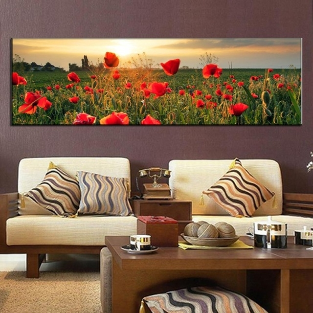 Large Canvas Painting The Flower Fields Canvas Wall Art Picture Pertaining To Large Canvas Wall Art (Image 8 of 15)