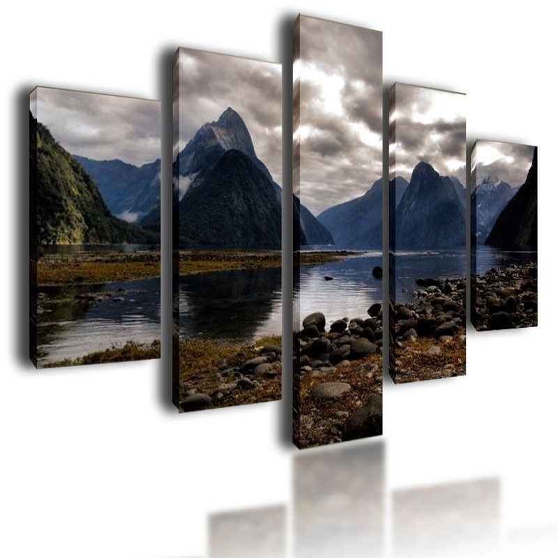 Large Canvas Pictures Mountains Wall Art Split Multi Panel Parted With Regard To Mountains Canvas Wall Art (View 11 of 15)