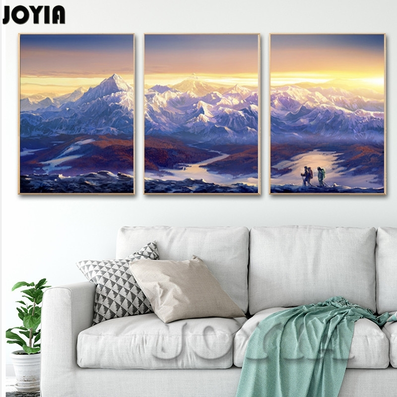 Large Canvas Prints Wall Art 3 Piece Scenery Pictures Continuous In Mountains Canvas Wall Art (View 2 of 15)