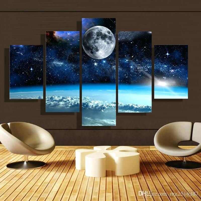 Large Canvas Wall Art 5 Panel Forest Painting Canvas Wall Art Inside Ireland Canvas Wall Art (View 10 of 15)