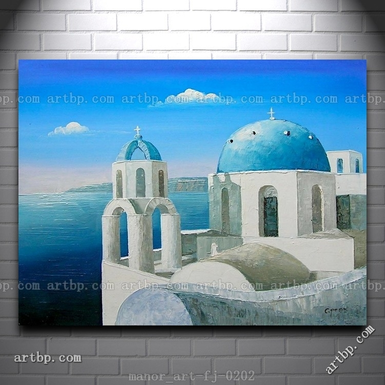 Large Canvas Wall Art Hand Painted Oil Painting Modern Decor Inside Greece Canvas Wall Art (View 10 of 15)