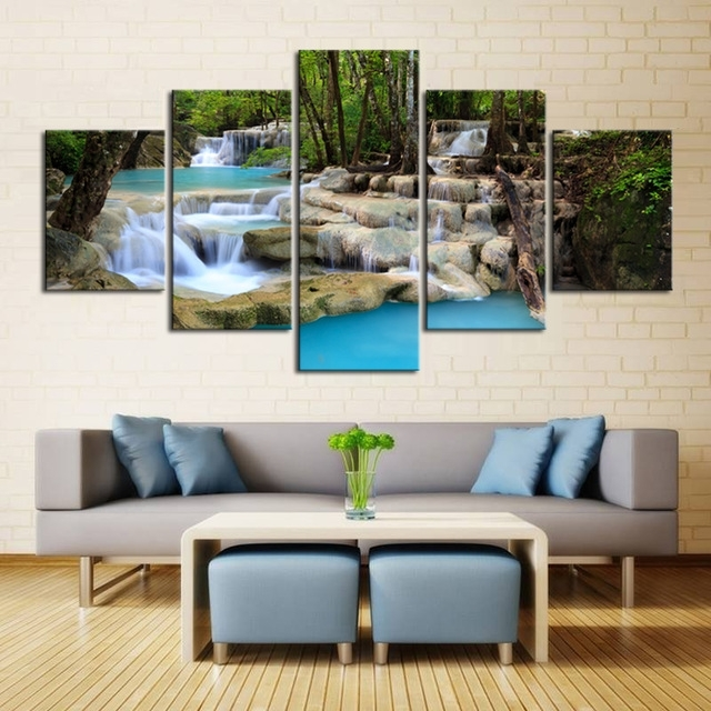 Large Canvas Wall Art Waterfall Painting Feng Shui Decorating Within Large Canvas Wall Art (Image 10 of 15)