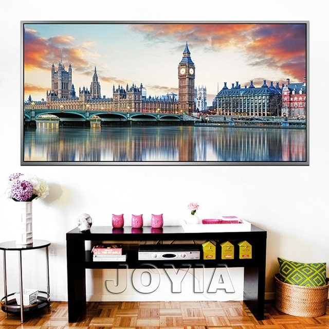 Large City Canvas Prints Wall Art London Architecture Reflection Pertaining To Canvas Wall Art Of London (View 8 of 15)