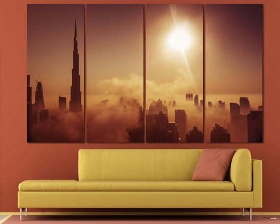 Large Dubai Burj Khalifa Canvas Print Dubai Skyline Set Of 3 Throughout Dubai Canvas Wall Art (Image 12 of 15)