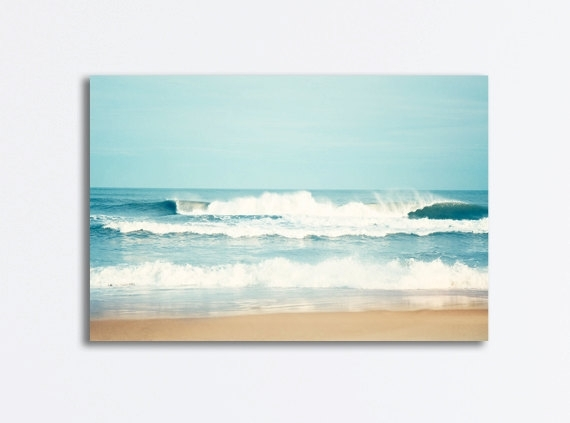 Large Ocean Canvas Seascape Wall Art Sea Blue Waves Beach Intended For Beach Canvas Wall Art (Image 7 of 15)