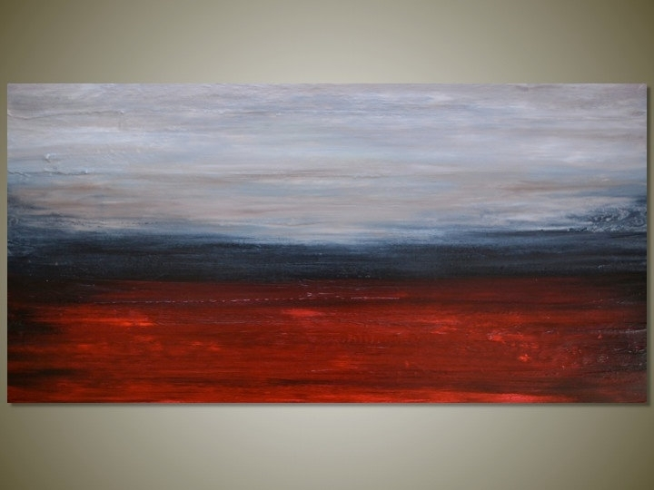 Large Original Abstract Landscape Painting Wall Art Canvas Throughout Abstract Landscape Wall Art (Image 9 of 15)