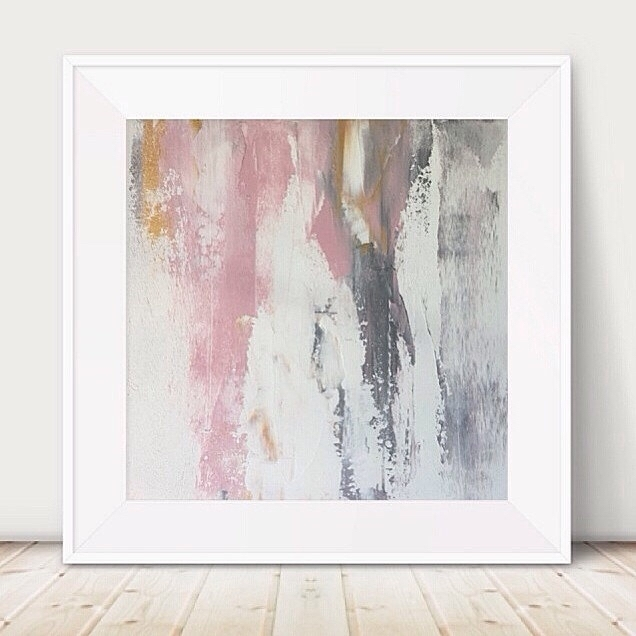 Large Pink And Grey Painting Pink White Painting Metallic Abstract With Regard To Pink Abstract Wall Art (Image 10 of 15)