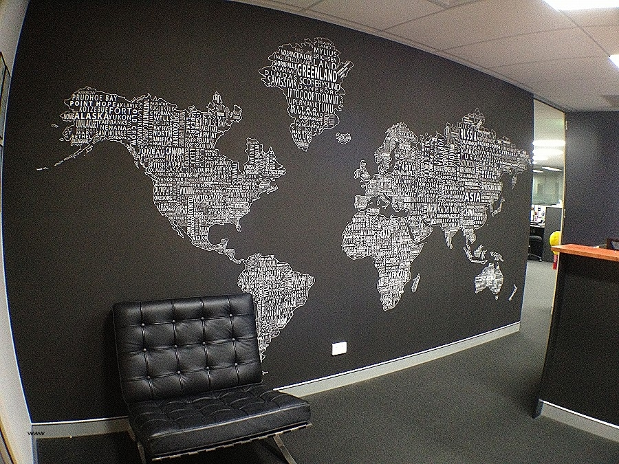 Large Print Fabric For Wall Art Awesome Worldtextmap White Black For Large Print Fabric Wall Art (View 13 of 15)
