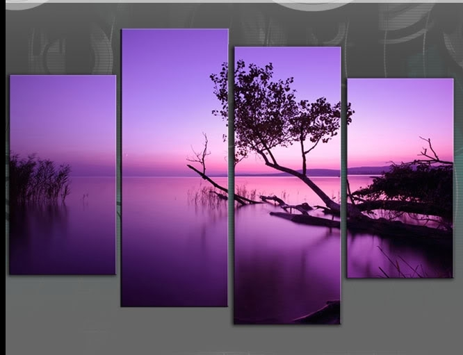 Large Purple Toned Lake Scenic Canvas Wall Art Picture 60 Inch 4 Panel Regarding Lilac Canvas Wall Art (View 15 of 15)
