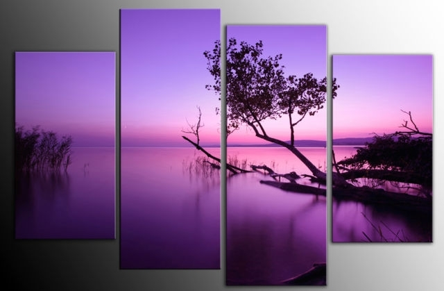 Large Purple Toned Lake Scenic Canvas Wall Art Picture 60 Inch 4 Panel Within Lilac Canvas Wall Art (View 2 of 15)